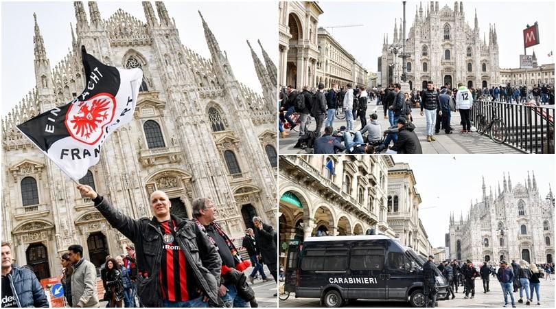 Inter, i tifosi dell'Eintracht al Duomo: birra e bandiere per scaldarsi