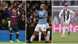 Champions League, la Top 11 dell'Uefa: Messi-Aguero-Ronaldo guidano l'attacco