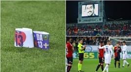 Cagliari e Fiorentina unite nel ricordo di Astori: commozione allo stadio