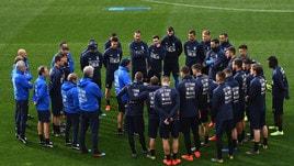 Azzurri in campo per preparare la partita di sabato contro la Finlandia