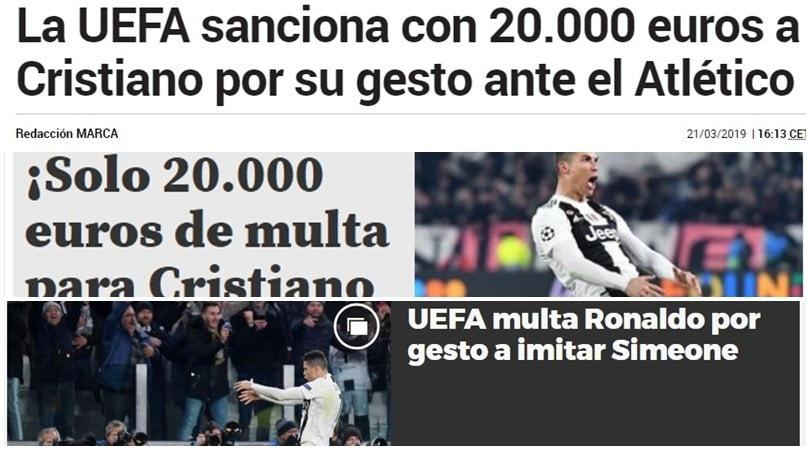 Champions, multa per Cristiano Ronaldo: le reazioni della stampa estera