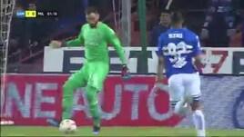 Donnarumma, papera clamorosa durante Sampdoria-Milan