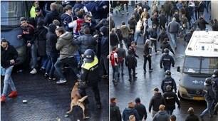 Ajax-Juve, scontri fuori lo stadio: tifosi olandesi contro la polizia