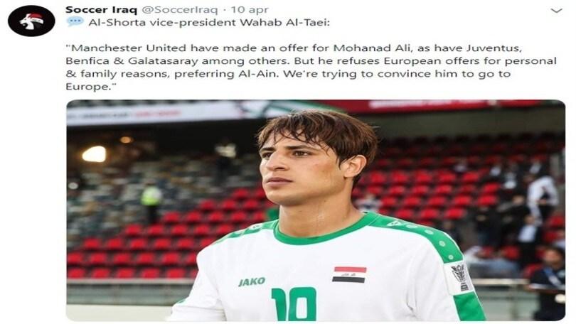 Vice-presidente Al-Shorta: «La Juventus segue il più grande talento dell'Iraq»