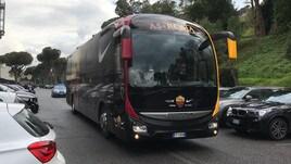 Roma-Udinese, il pullman giallorosso all'Olimpico