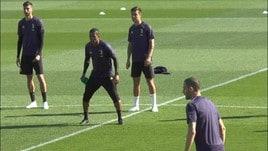 Juve-Ajax: che numero di CR7 in allenamento!