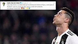 Champions, il Cadice chiama Cristiano Ronaldo: «Vieni da noi»