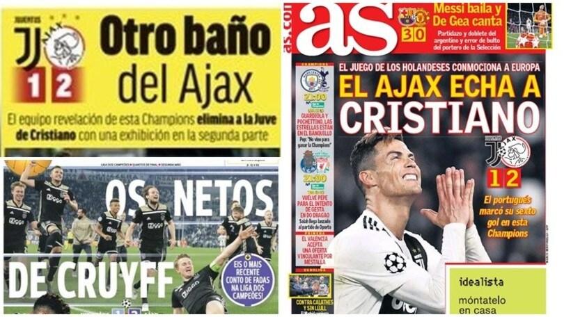 Champions, stampa estera implacabile: «Il calcio totale dell'Ajax stende la Juventus»