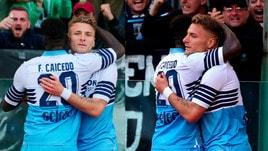 Lazio, che intesa Caicedo e Immobile: abbracci sotto la curva dopo il gol
