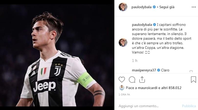Dybala: «C'è sempre un'altra stagione». E Icardi mette il like...