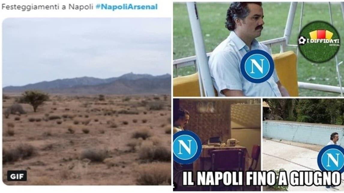 Ilarità nel mondo di Internet tra vignette e sfottò nei confronti del Napoli, uscito sconfitto anche nel ritorno dei quarti di Europa League con l'Arsenal
