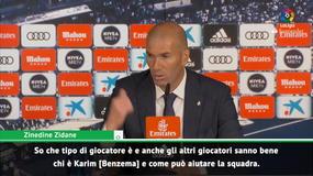"""Zidane: """"Benzema? È il miglior attaccante al mondo"""""""