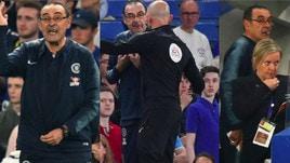 Sarri, una furia in panchina: contestato ed espulso contro il Burnley