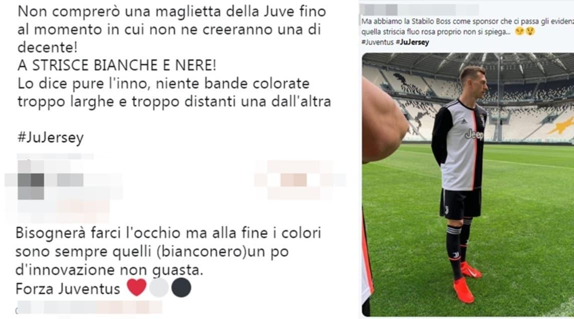 <p>Le reazioni social dei tifosi bianconeri dopo l&#39;anteprima della maglia 2019-20. C&#39;&egrave; chi ha apprezzato la novit&agrave; e chi invece rivendica la classica maglia a strisce</p>