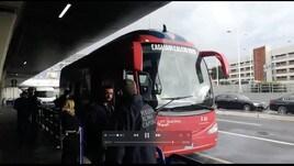 Cagliari sbarcato a Fiumicino per la sfida contro la Roma