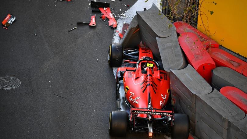 F1 Gp Azerbaijan: botto Leclerc, qualifiche finite