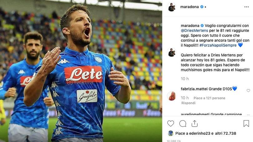 Napoli: gli auguri social di Maradona a Mertens - Corriere ...