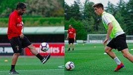 Milan in ritiro: Gattuso palleggia, Piatek scalda il destro