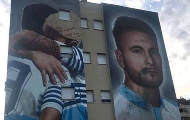 Lazio, imbrattato il murales di Immobile