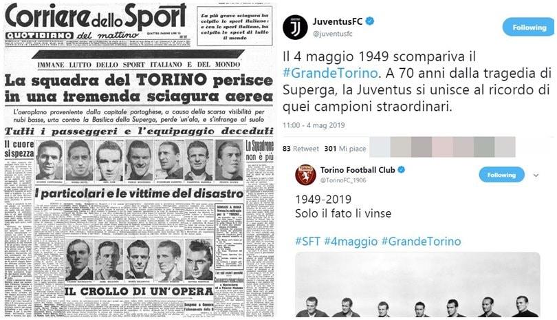 Grande Torino, quanti messaggi sui social: c'è anche il post della Juve