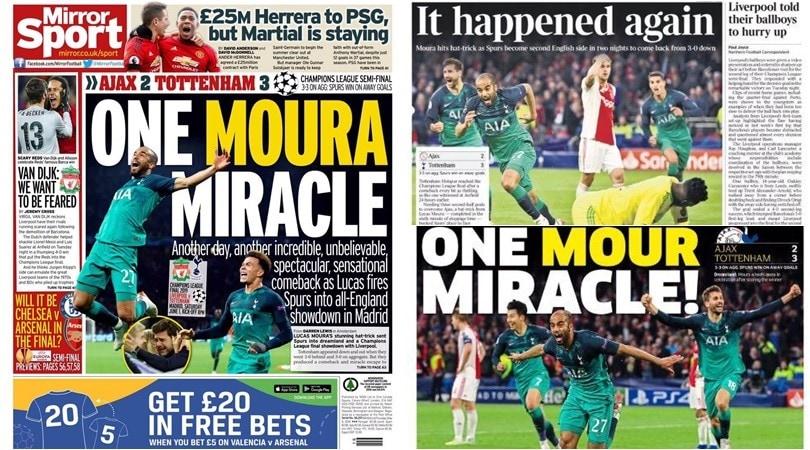 Champions, il Tottenham elimina l'Ajax: tabloid inglesi in delirio per Lucas Moura