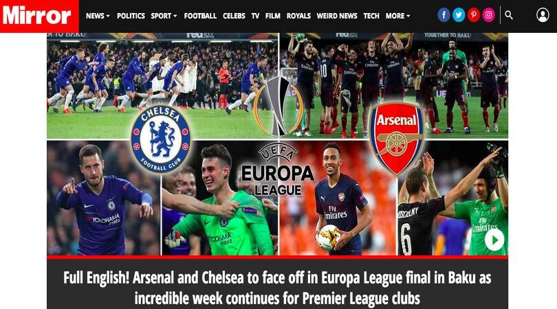 I tabloid esaltano le finaliste inglesi: «E' storia, la Premier domina l'Europa»
