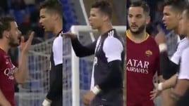 Scintille Florenzi-Ronaldo. Il portoghese: «Troppo piccolo per parlare»