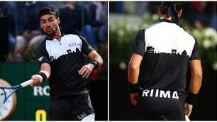 Roma stilizzata sulla maglia: l'omaggio di Fognini agli Internazionali