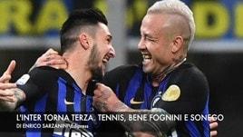 L'Inter torna terza. Tennis, avanti Fognini e Cecchinato