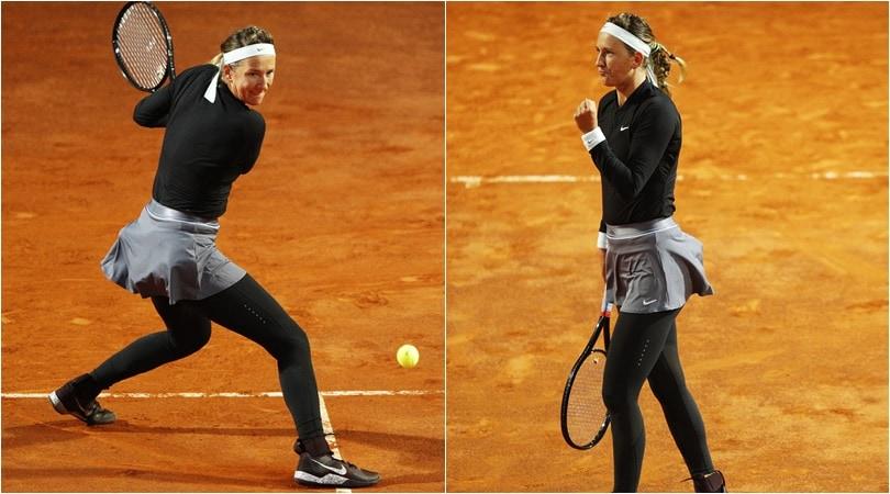 Internazionali, Azarenka con un look sorprendente: in campo con i leggins