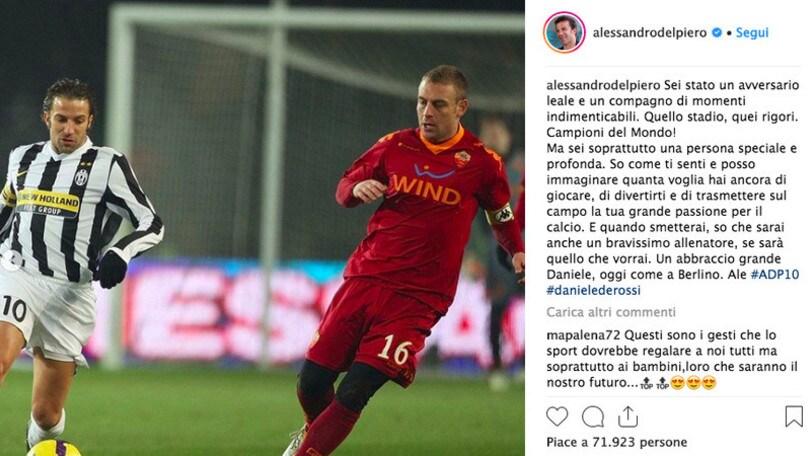 Addio De Rossi, Del Piero: «So come ti senti»