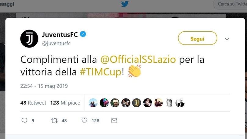 Coppa Italia, trionfo Lazio. La Juve twitta: «Complimenti!»