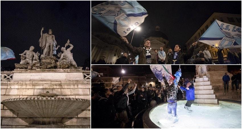 Lazio, festa tutta la notte. La città in delirio per la Coppa Italia