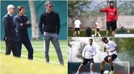 Gattuso osservato: Maldini e Leonardo seguono l'allenamento del Milan
