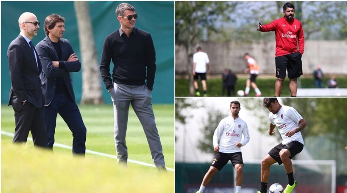 <p>Presente anche Gazidis, la dirigenza rossonera a bordo campo per guardare la squadra al lavoro in vista del Frosinone</p>