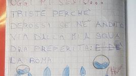 «Triste perché De Rossi andrà via dalla Roma», il compito del bambino a scuola