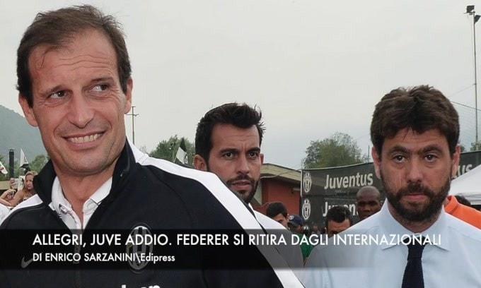 Allegri, Juve addio. Federer si ritira dagli Internazionali