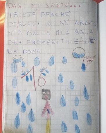 «Triste perché De Rossi andrà via dalla Roma», il compito di Giulia a scuola