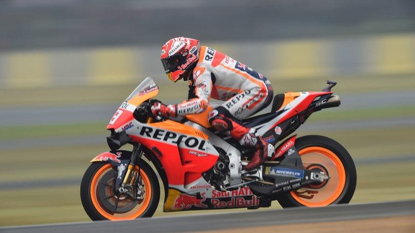 Le Mans, a Marquez le Fp4. Rossi è decimo