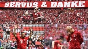 Al Bayern finisce un'epoca: il commovente saluto a Robben e Ribery