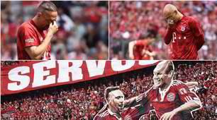L'ultimo saluto di Robben e Ribery al Bayern: lacrime in campo