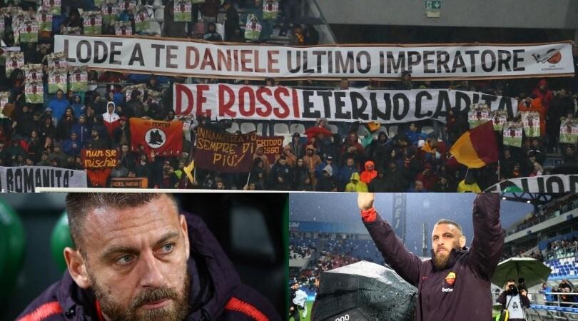 Roma, striscioni per De Rossi: «Lode a te, ultimo imperatore»