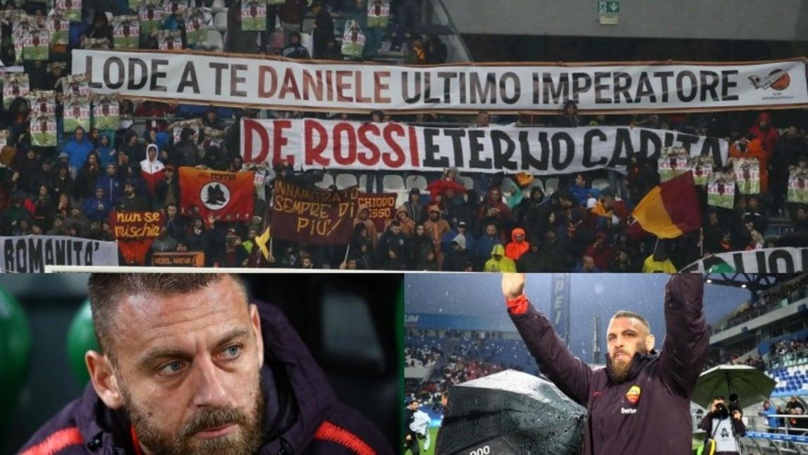 Tanti i messaggi e i cori per il capitano giallorosso in occasione della trasferta di Reggio Emilia contro il Sassuolo: lui si alza dalla panchina e ringrazia commosso