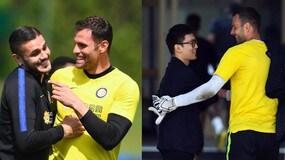 Inter, abbracci e sorrisi in allenamento: c'è anche il presidente Zhang
