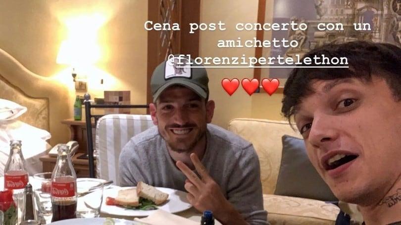 Roma, Florenzi con Ultimo: concerto e cena in albergo