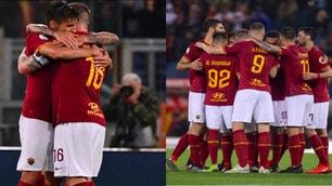 Pellegrini-Perotti, gol e festeggiamenti con De Rossi