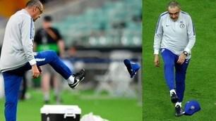 Lite Higuain-David Luiz: Sarri prende a calci il cappello
