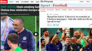 """Sarri vince l'Europa League, i tabloid inglesi: """"Futuro incerto"""""""