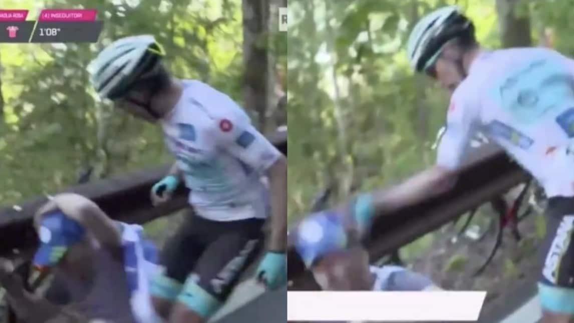 L'episodio si è verificato a pochi chilometri dall'arrivo della ventesima tappa del Giro d'Italia: il colombiano dell'Astana, leader della classifica giovani, si è scontrato con uno spettatore a bordo strada e ha poi reagito d'istinto.