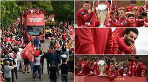 La sfilata del Liverpool con la coppa: bus aperto per la città